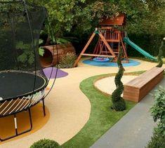 55 Amazing Small Backyard Playground Landscaping Ideas - Page 4 of 60 Large Backyard Landscaping, Backyard Ideas For Small Yards, Sloped Backyard, Backyard For Kids, Landscaping Ideas, Desert Backyard, Florida Landscaping, Cozy Backyard, Backyard Designs