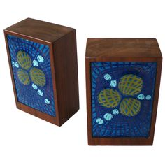 Walnut and Enamel Book Ends | From a unique collection of antique and modern bookends at https://www.1stdibs.com/furniture/more-furniture-collectibles/bookends/