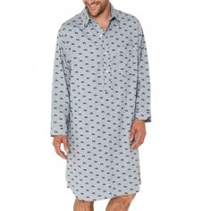 Liquette chemise Arthur en coton gris à imprimés voitures bleu marine