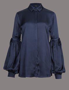 Satin Bell Sleeve Shirt