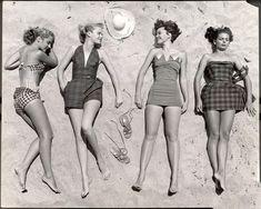 Women sunbathing, 1950s