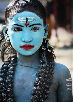 dressed up as shiva, india.