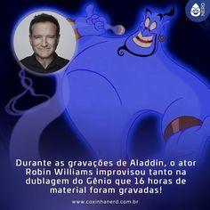 #CoxinhaCuriosa Durante as gravações de Aladdin o ator Robin Williams improvisou tanto na dublagem do Gênio que 16 horas de material foram gravadas! #timelineacessivel #pracegover