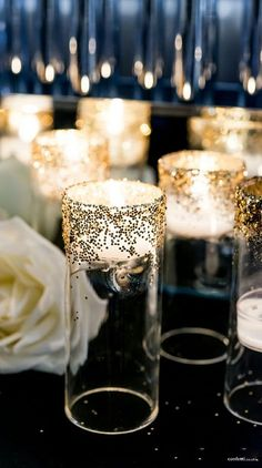 1920's Art Dec wedding Ideas | Confetti Art Deco Wedding Collection | Blown Glass Miniature Tealight | DIY Glitter Candle Holders tutorial |Confetti.co.uk