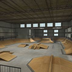 Skate Park Indoor Warehouse Interior 2 Model available on Turbo Squid, the world's leading provider of digital models for visualization, films, television, and games. Ramp Design, House Design, Halle, Skate Ramp, Skate Store, Parking Design, 3d Max, Dream Furniture, Arquitetura