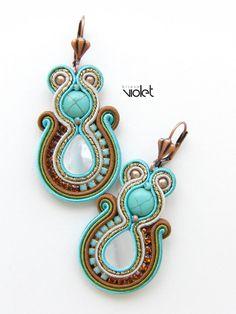 Soutache earrings by Violetbijoux on Etsy Soutache Necklace, Tassel Earrings, Statement Earrings, Boho Jewelry, Jewelery, Women Jewelry, Handmade Necklaces, Handmade Jewelry, Polymer Clay Charms