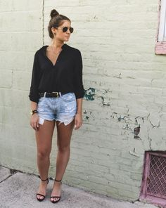 Affordable Style Blog // BitofBizdom button down // cutoff jeans // click to shop post