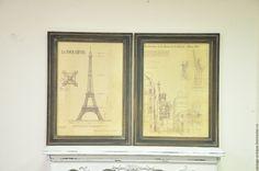 Купить Винтажные панно Мировые достопримечательности, диптих, картина, постер в интернет магазине на Ярмарке Мастеров