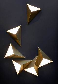 Tetra Wall Light By Cvl Luminaires Tetra Wall Sb - By Itself Or In An Arrangement The Tetra Wall Light Can Shape Your Own Creation With Light Available In Satin Or Polished Brass Copper Graphite Or Nickel Note Only Single Installed Lights Are U Ceiling Design, Lamp Design, Lighting Design, Art Deco Wall Lights, Wall Lighting, Art Deco Wall Art, Art Deco Lighting, Lighting Ideas, Luminaire Design