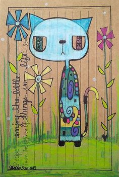Original Art SFA CAT LiFe Recipe #3 WhiMSy FoLk Outsider Little Things In Life Pastels, Oil, Colored Pencils L Brucato