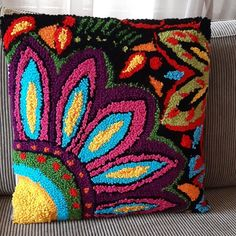 Needle Cushion, Funny Pillows, Cushion Cover Designs, Punch Needle Patterns, Latch Hook Rugs, Rug Hooking Patterns, Hand Hooked Rugs, Small Pillows, Quilted Pillow