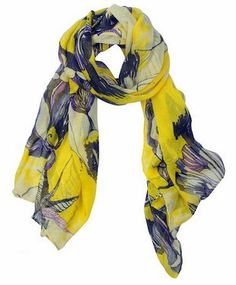 This soft chiffon scarf has begonia floral prints and is suitable for use all year long.  It's trendy and stylish in yellow and hints of purple outlining the floral design.
