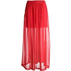 Red Double Split Chiffon Maxi Skirt - Clothing - desireclothing.co.uk ($32) ❤ liked on Polyvore featuring skirts, bottoms, saias, faldas, chiffon maxi skirt, chiffon skirts, floor length chiffon skirt, maxi skirts and red chiffon maxi skirt