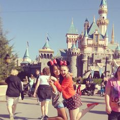 Kristina Bazan with friend In Disneyland, Los Angeles