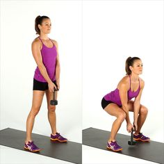 Weighted Squat: Increase the your weighs for this final exercise, and work up to using a 25-pound dumbbell.