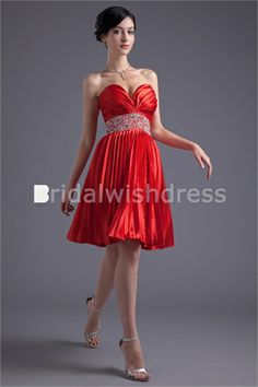 Summer Graduation Knee-Length Elastic Woven Satin Special Occasion Dresses