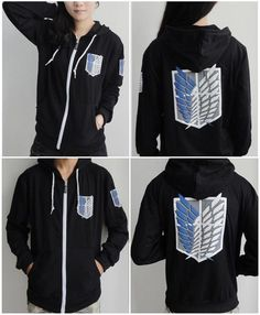 Anime Attack On Titan Survey Legion Black thick Hooded Sweatshirt Cosplay Hoodie