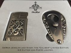 Xikar Caliber Limited Edition Collaboration with DeMer Jewelry. cigar cutter and Forte lighter! Last few remaining! Pipes And Cigars, Cigars And Whiskey, Cigar Quotes, Cigar Lighters, Cigar Accessories, Old Toys, Laser Engraving, Liquor, Best Gifts