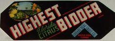3.25x9 HIGHEST BIDDER, Vintage Winter Park, Florida Citrus Crate Label