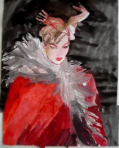 "Saatchi Art Artist Claudia Wimmer;  Risanje, ""Fashion Illustration 13"" #art"