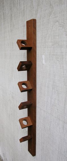 Modern Rustic Hanging Wood Wine Rack - Exotic African Makore Wood - 6 Bottle…