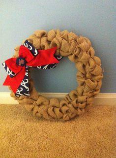 Custom Burlap Sports Team Wreath on Etsy, $45.00