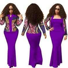 Made To Fit African Women Clothing 2Piece Long Dress Crop Top Suits Dashiki Prin