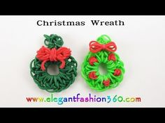 Easy Rainbow Loom Holiday/Christmas Wreath Charm(Hook) - How to Loom Bands Ornaments