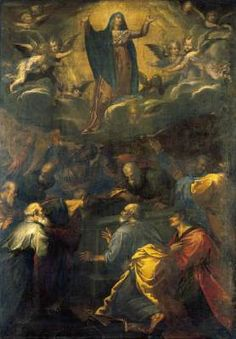 MUZIANO, Girolamo (b. 1532, Brescia, d. 1592, Roma)   Click! Assumption of the Virgin  1581-83 Oil on canvas, 154 x 108 cm Private collection  This painting is probably a modello by Muziano for his much larger altarpiece (now lost) of The Assumption which once stood on the high altar of the church of San Luigi dei Francesi in Rome.