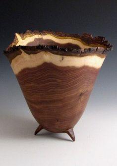 Bark Edge Black Walnut Wood Turned Bowl by JLWoodTurning Wood Turned Bowls, Wood Bowls, Turned Wood, Wood Slab, Walnut Wood, Wood Turning Projects, Lathe Projects, Woodworking Projects, Handmade Wooden
