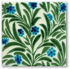 William De Morgan: MERTON ABBEY Fireplace Tile-Authentic Victorian Tiles