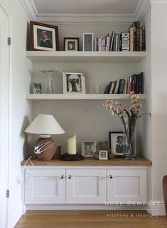 New Pic Fireplace Remodel with shelves Tips Living room library Noel Dempsey Living Room Cabinets, Living Room Shelves, Living Room Storage, New Living Room, Living Room Kitchen, Living Room Decor, Oak Living Room Furniture, Small Living, Living Room Units
