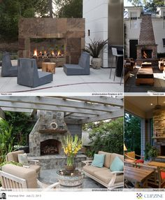 Outdoor Fireplace Ideas, like the concrete chairs