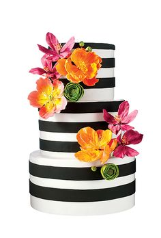 Brides.com: The Most Creative Wedding Cakes of the Year. Wild Orchid Baking Co., Dover, NH. Bright blooms and mod stripes will fit right in at a retro-fab party. This cake goes perfectly with other mod wedding details like black-and-white Chanel ankle boots.  Black and white striped fondant wedding cake, $12 per slice (serves 80), Wild Orchid Baking Co.  See more modern wedding cakes.