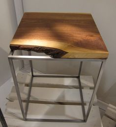 Live Edge - Side Table in walnut and steel #furniture