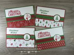 This is the second set of Stamp-a-Stack cards we made in class last week. I've taken my inspiration and colour scheme from the Be Merry ...