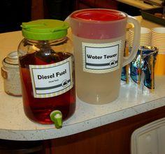 Diesel fuel and water tower drinks