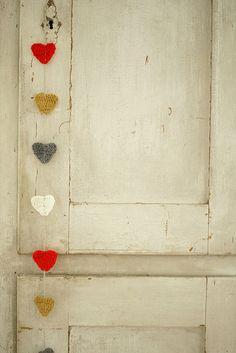 yarn hearts garland via Sheepish Knitting & Crochet Heart Day, I Love Heart, Happy Heart, Mobiles, Heart Garland, Heart Banner, Arts And Crafts, Diy Crafts, Diy Valentine