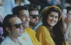 George Michael with Andrew Ridgeley and sister Melanie Panayiotou pictured together watchi...