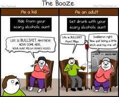 Thanksgiving as a kid VS Thanksgiving as an adult - The Oatmeal  Cool story about blended families: I never had a scary alcoholic aunt as a kid, just an AWESOME alcoholic(? [at least, he always hides by the best beer]) uncle as an adult XD