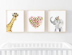 Flower crowned animals : Set of 3 prints (elephant, hearth, giraffe) Lets make your little ones room warm and enjoyable! These are a prints of my original watercolor paintings. The colors are rich and vibrant and the print looks so much better in real life. Materials: Printed on