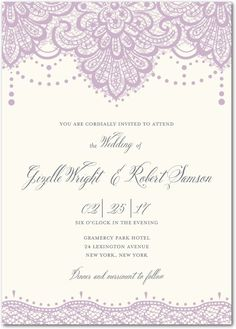 Lasting Lace - Signature White Wedding Invitations in Fog or Blush   Mindy Weiss