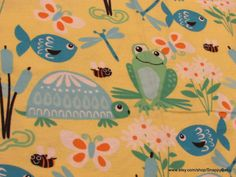 Flannel Fabric  Frogs Turtles and Fish on Yellow  1 by SnappyBaby