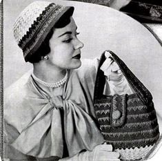 NEW! Beau Belle Hat & Bag Sets crochet patterns from Belastraw Fashions, Volume No. 20, originally published in 1950.