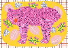Illustrations from Camilla Perkins - The Design Peeper Bear Card, Sign Printing, Camilla, Graphic Illustration, New Art, Sculpture Art, Art Drawings, Print Patterns, Artist