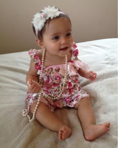 Romper and Headband Set -Vintage Floral Satin Petti Romper - Newborn Outfit - Baby Girl Outfit - Toddler- Photo Prop- ruffle romper. $32.95, via Etsy.