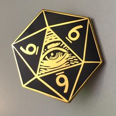 """Special Pre-order price for 666 d20 Pin  Ready to ship on 2/9/16  Starting 2/9/16 price will be $8.00  1.25"""" Black and Gold Plated Hard Enamel"""