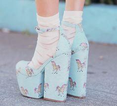 Blue pastel unicorns platform #shoes with ankle socks. #teen #fashion #style