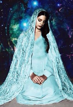 Lana in baby blue for Tropico As the virgin Mary