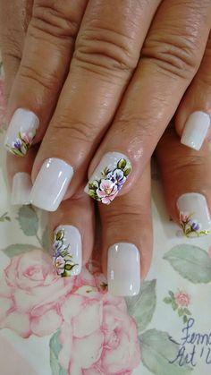 Lindas unhas Perfect Nails, Gorgeous Nails, Pretty Nails, Nails & Co, Toe Nails, Spring Nails, Summer Nails, Flower Nail Art, Gel Nail Designs